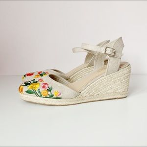 new espadrille wedges with embroidered flowers